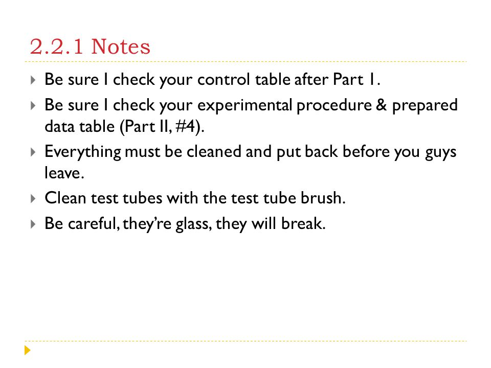 2.2.1 Notes Be sure I check your control table after Part 1.
