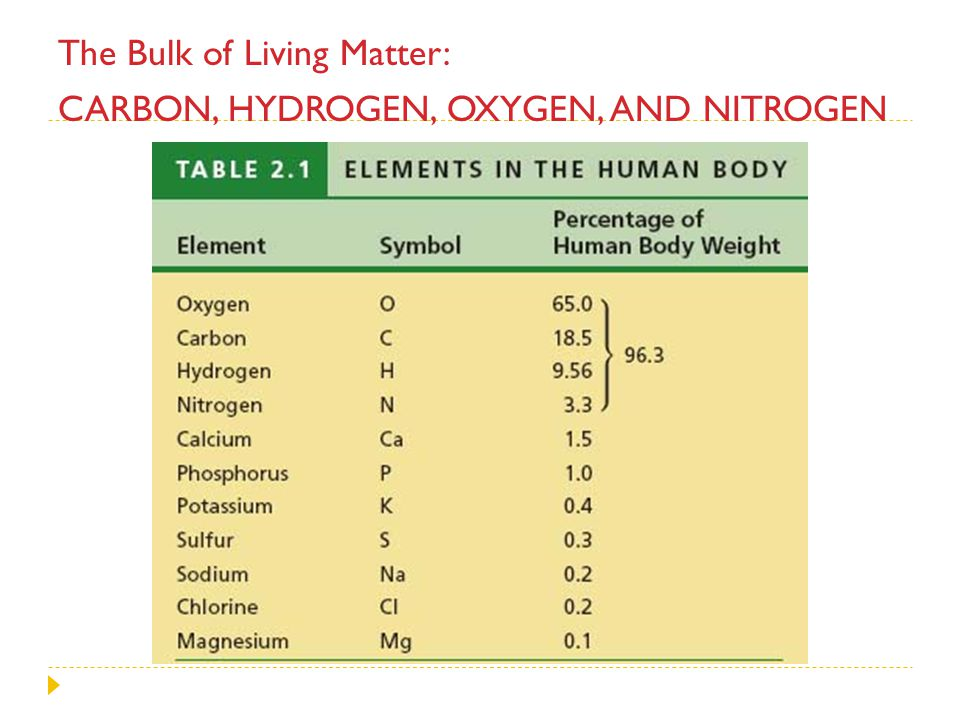 The Bulk of Living Matter: Carbon, hydrogen, oxygen, and nitrogen