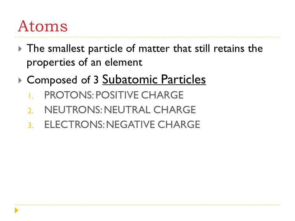 Atoms The smallest particle of matter that still retains the properties of an element. Composed of 3 Subatomic Particles.