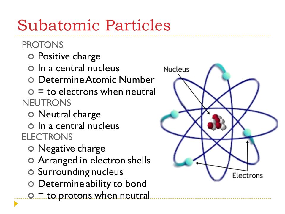 Subatomic Particles Positive charge In a central nucleus