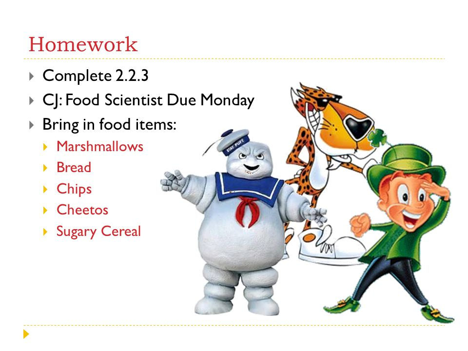 Homework Complete 2.2.3 CJ: Food Scientist Due Monday