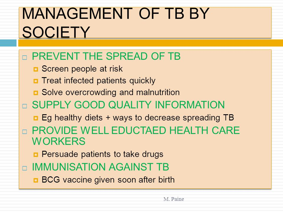 MANAGEMENT OF TB BY SOCIETY