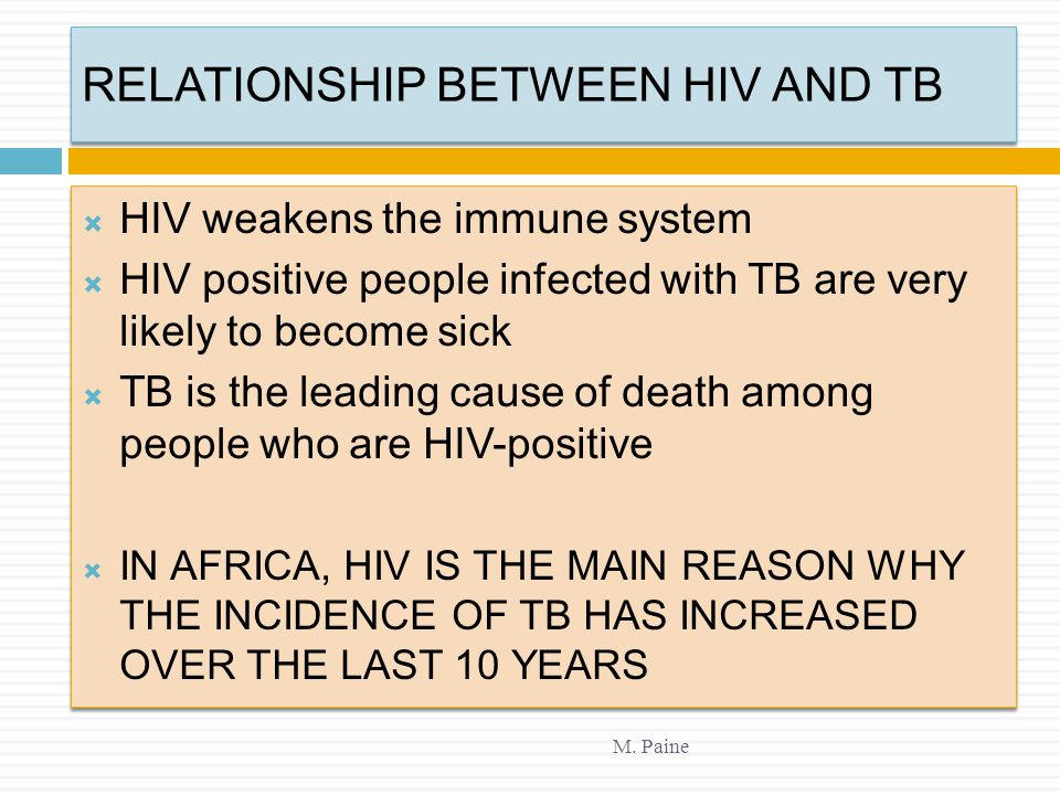 RELATIONSHIP BETWEEN HIV AND TB