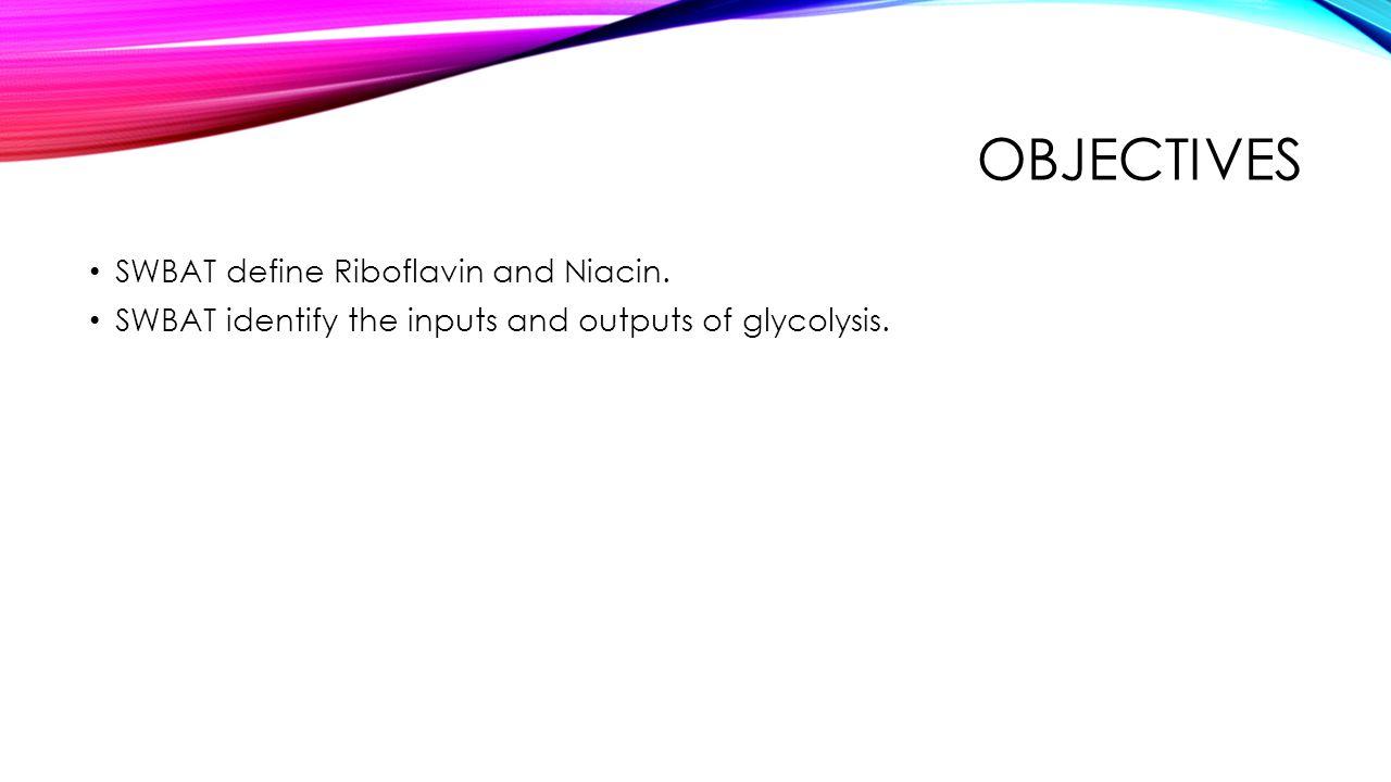 Objectives SWBAT define Riboflavin and Niacin.