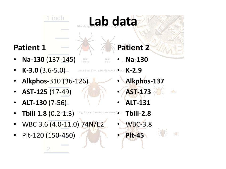 Lab data Patient 1 Patient 2 Na-130 (137-145) K-3.0 (3.6-5.0)