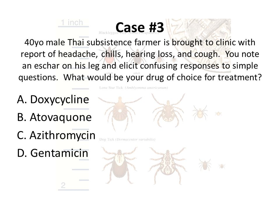 Case #3 40yo male Thai subsistence farmer is brought to clinic with report of headache, chills, hearing loss, and cough. You note an eschar on his leg and elicit confusing responses to simple questions. What would be your drug of choice for treatment
