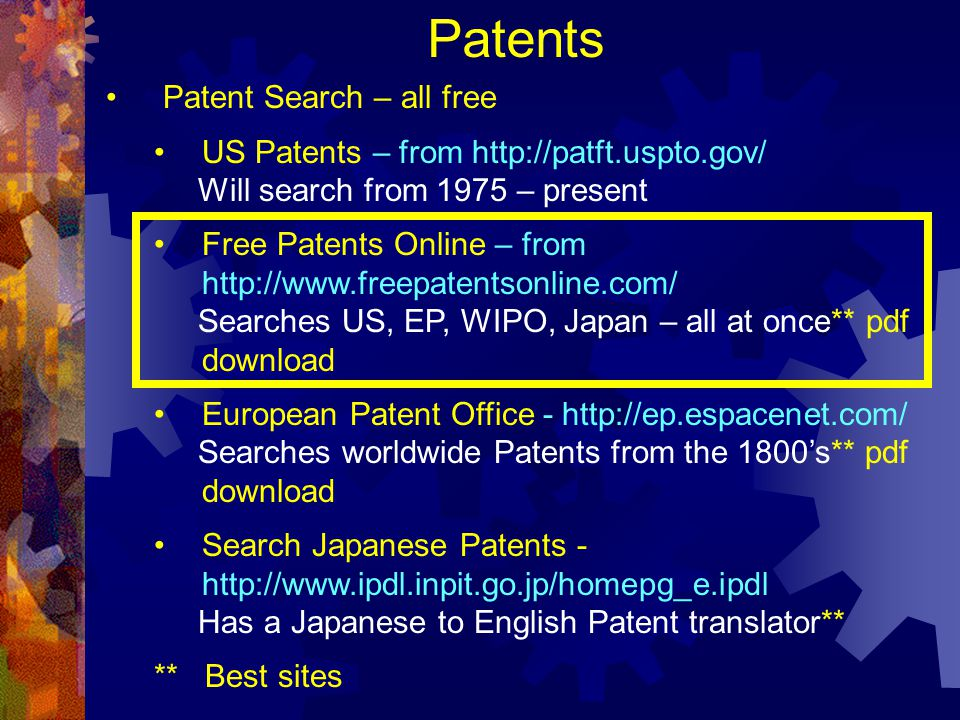 Patents Patent Search – all free
