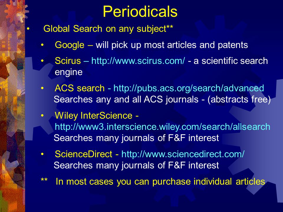 Periodicals Global Search on any subject**