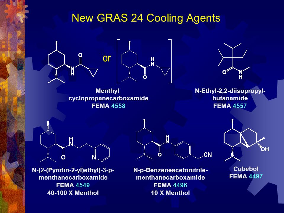 New GRAS 24 Cooling Agents