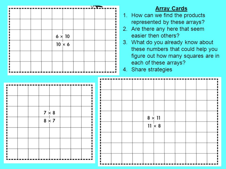 Array Cards How can we find the products represented by these arrays Are there any here that seem easier then others
