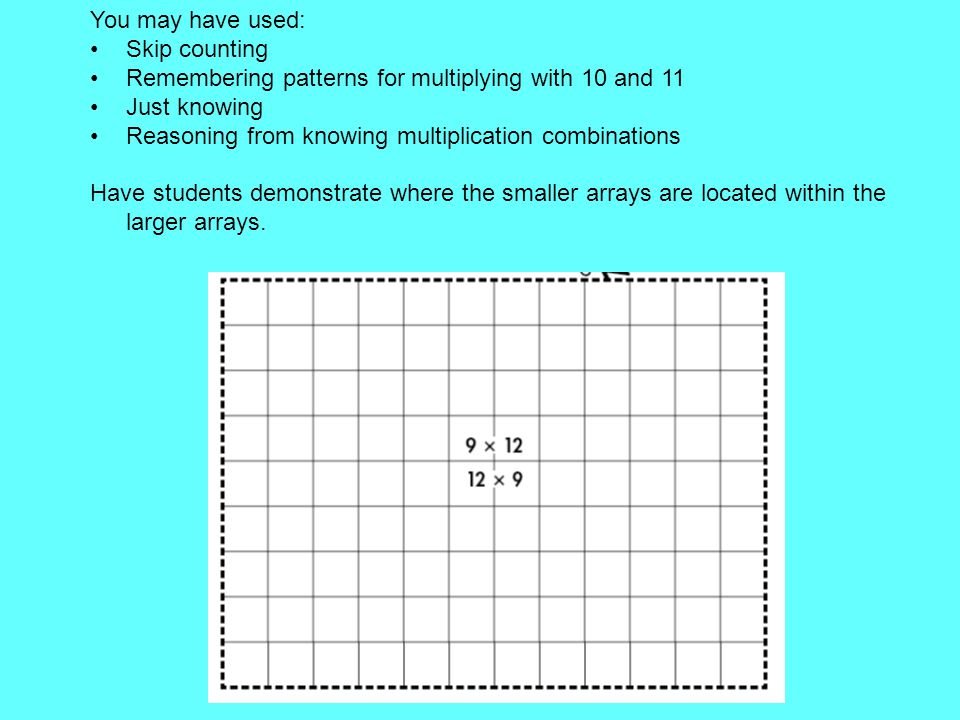 You may have used: Skip counting. Remembering patterns for multiplying with 10 and 11. Just knowing.