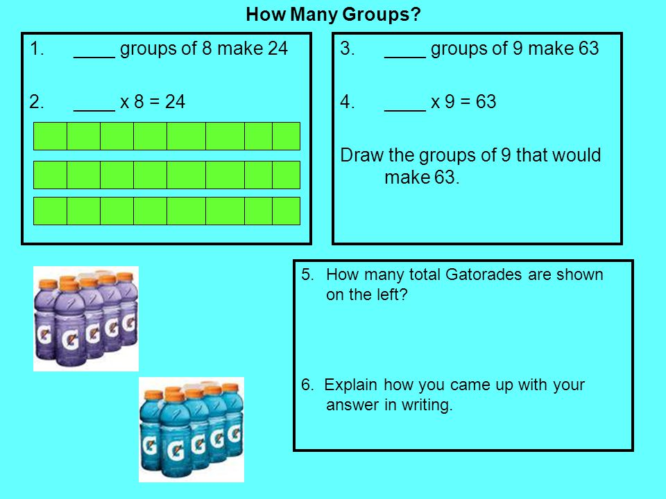 Draw the groups of 9 that would make 63.