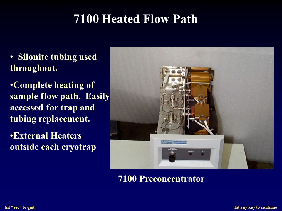 7100 Heated Flow Path Silonite tubing used throughout.