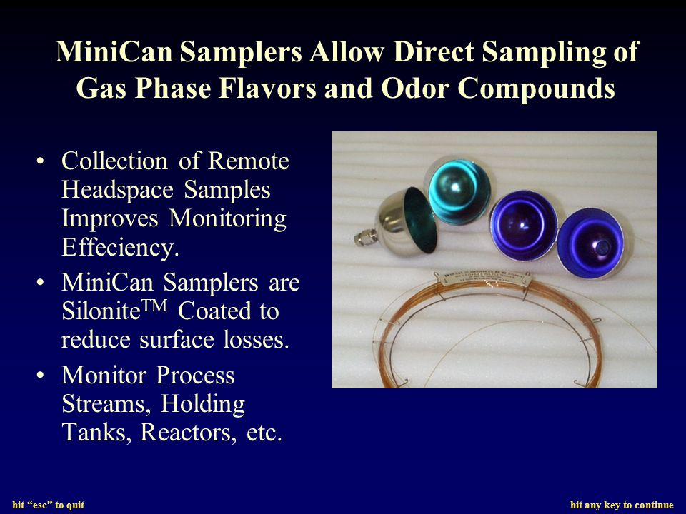 MiniCan Samplers Allow Direct Sampling of Gas Phase Flavors and Odor Compounds