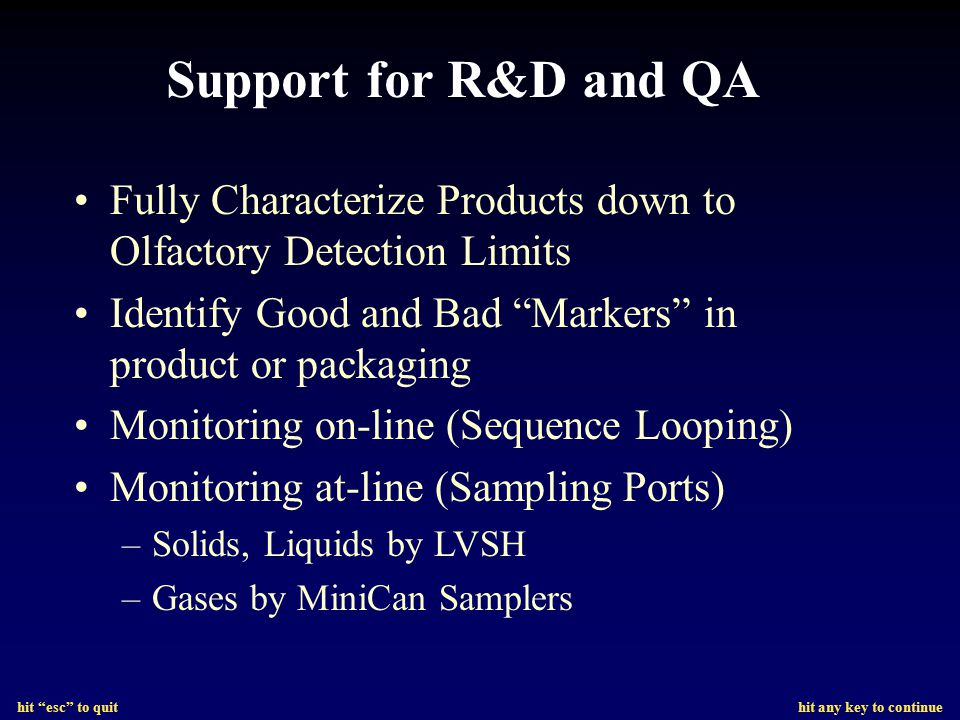 Support for R&D and QA Fully Characterize Products down to Olfactory Detection Limits. Identify Good and Bad Markers in product or packaging.