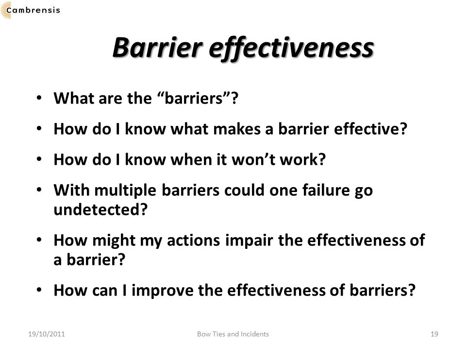 Barrier effectiveness