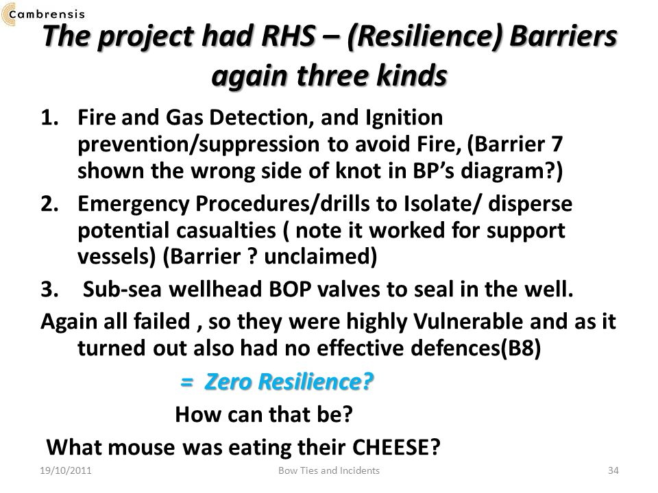 The project had RHS – (Resilience) Barriers again three kinds