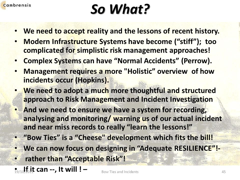 So What We need to accept reality and the lessons of recent history.