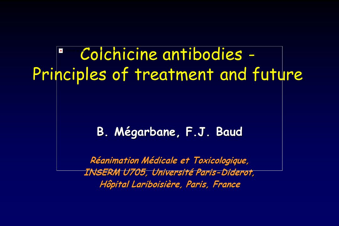 Colchicine antibodies - Principles of treatment and future