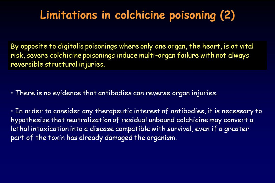 Limitations in colchicine poisoning (2)