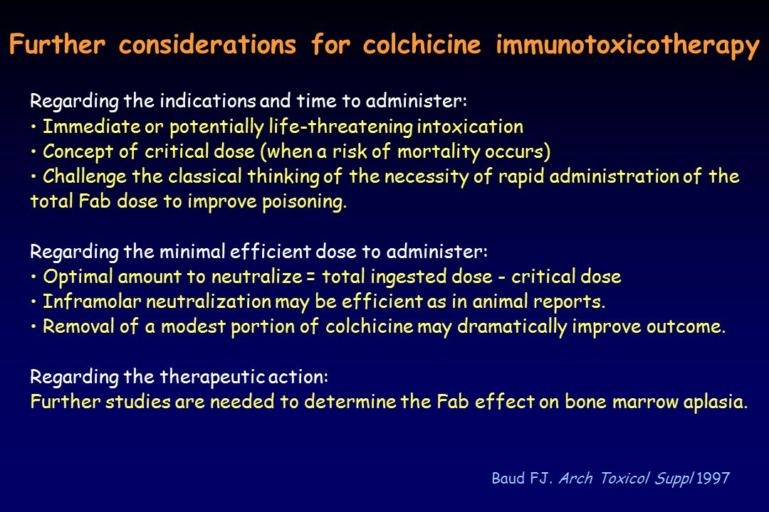 Further considerations for colchicine immunotoxicotherapy