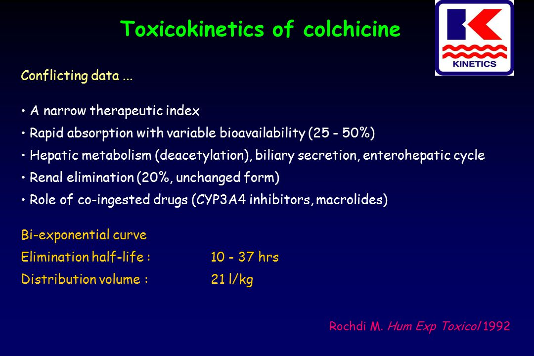 Toxicokinetics of colchicine