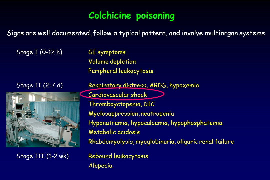 Colchicine poisoning Signs are well documented, follow a typical pattern, and involve multiorgan systems.