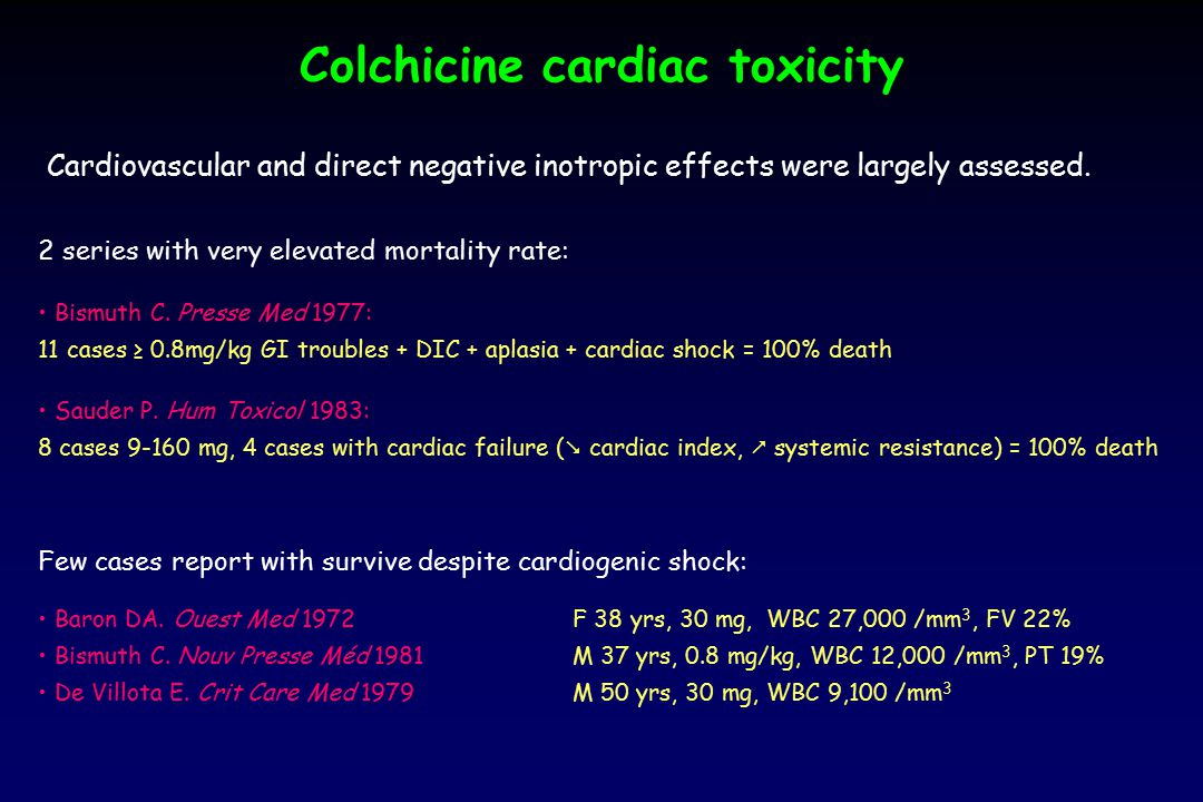 Colchicine cardiac toxicity