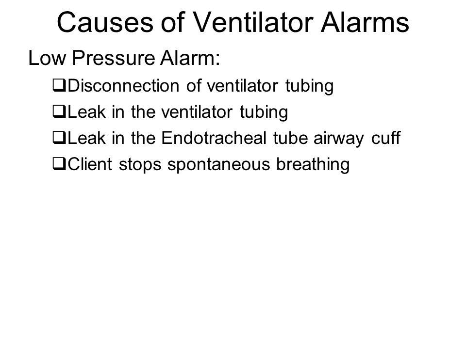 Causes of Ventilator Alarms