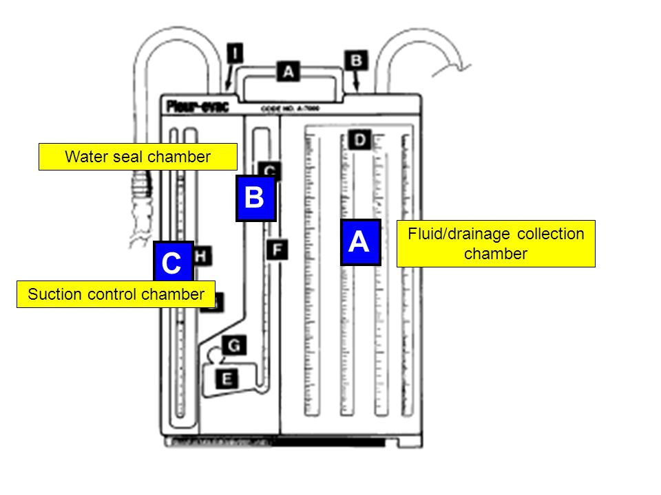 B A C Water seal chamber Fluid/drainage collection chamber