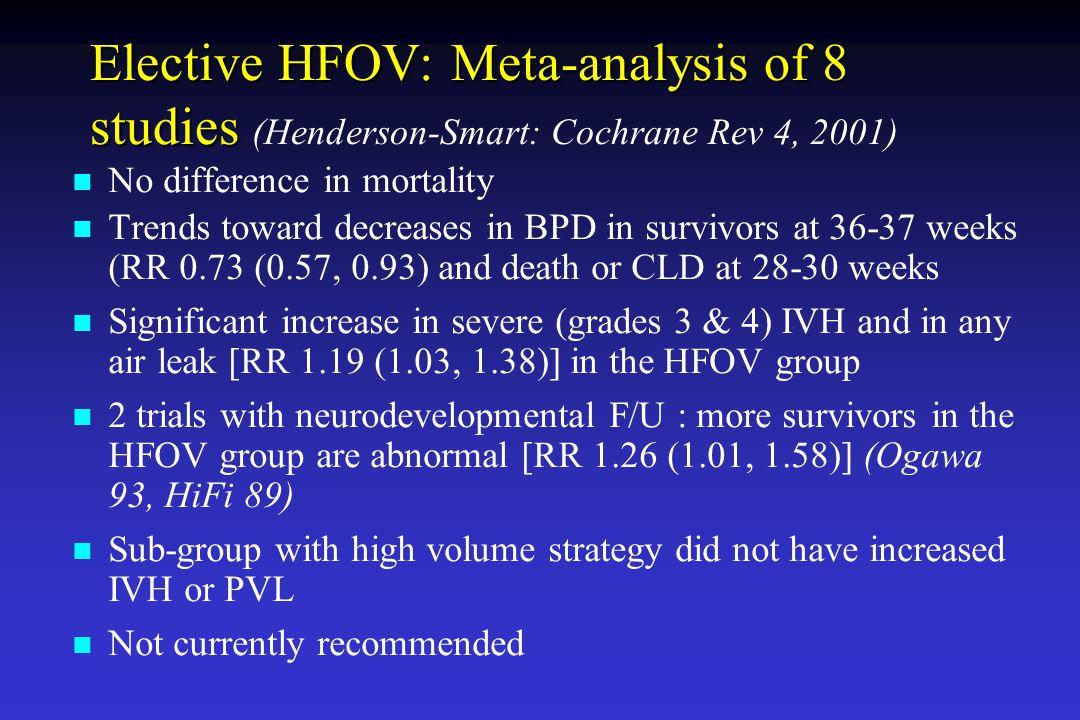 Elective HFOV: Meta-analysis of 8 studies (Henderson-Smart: Cochrane Rev 4, 2001)