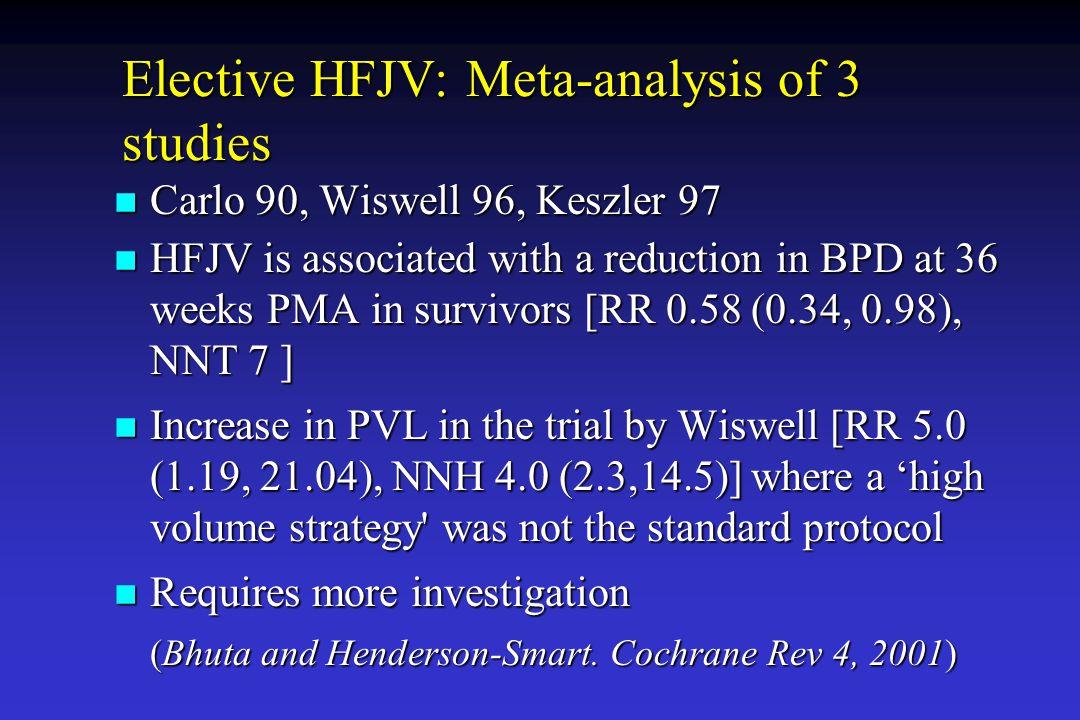Elective HFJV: Meta-analysis of 3 studies
