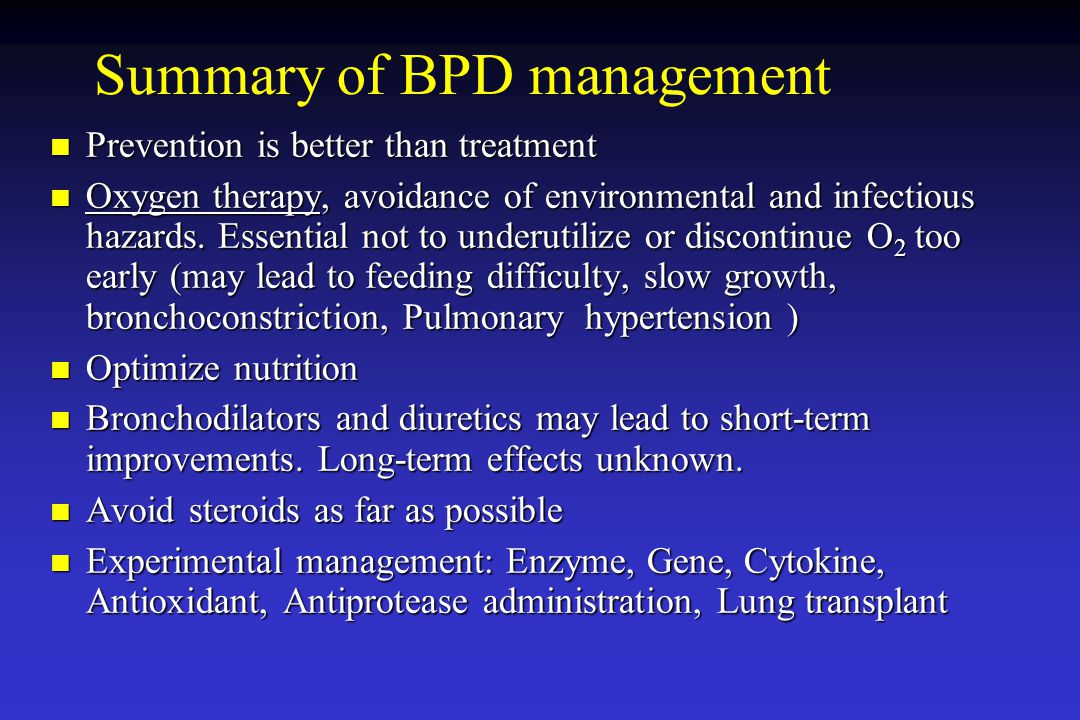 Summary of BPD management