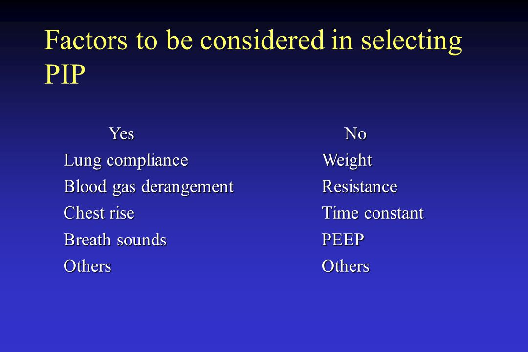 Factors to be considered in selecting PIP