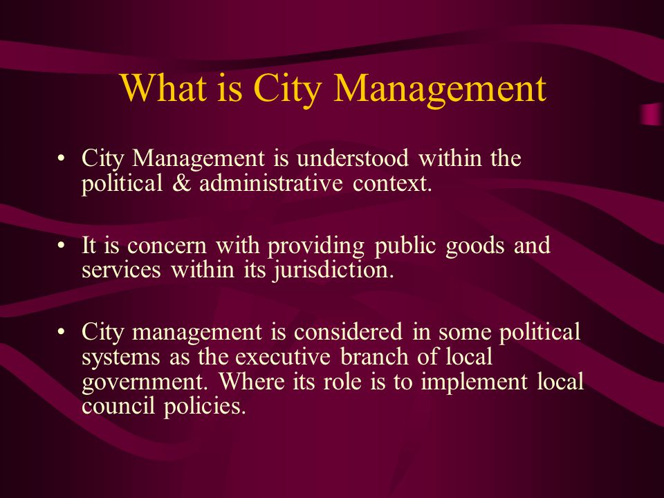 What is City Management