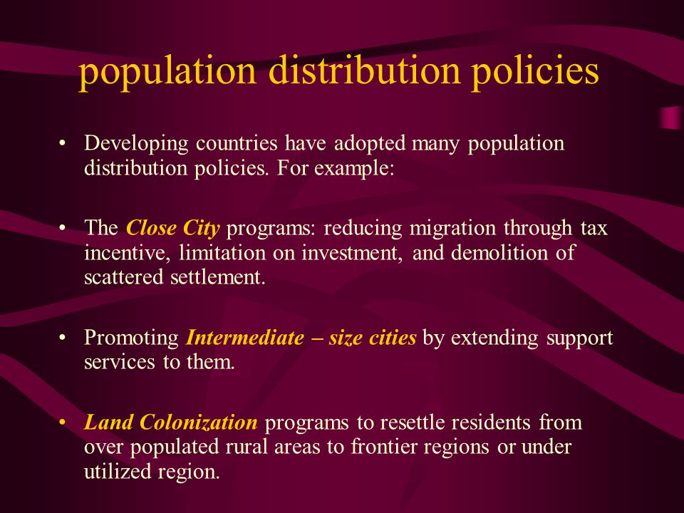 population distribution policies