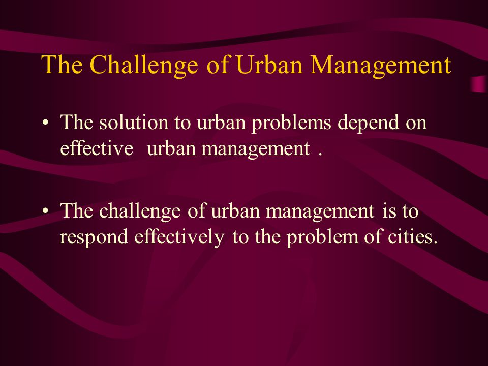 The Challenge of Urban Management