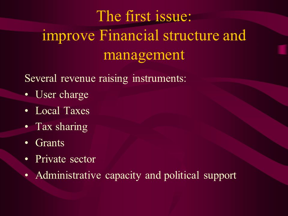 The first issue: improve Financial structure and management