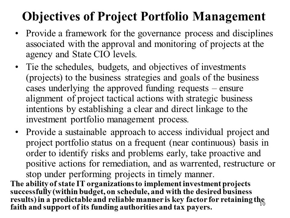 Objectives of Project Portfolio Management