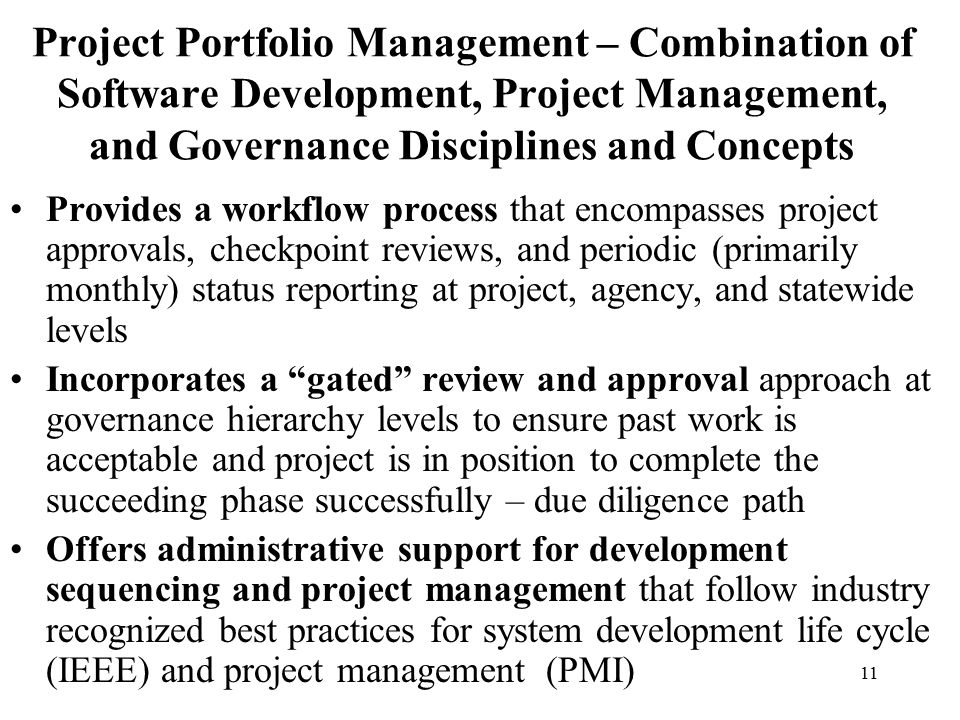 Project Portfolio Management – Combination of Software Development, Project Management, and Governance Disciplines and Concepts
