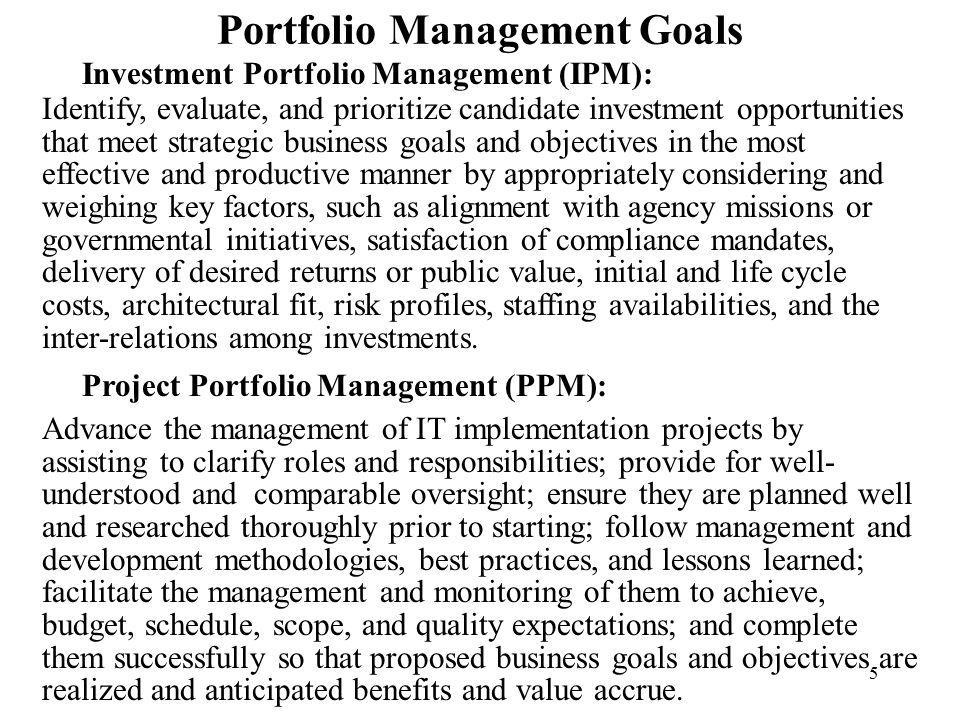 Portfolio Management Goals