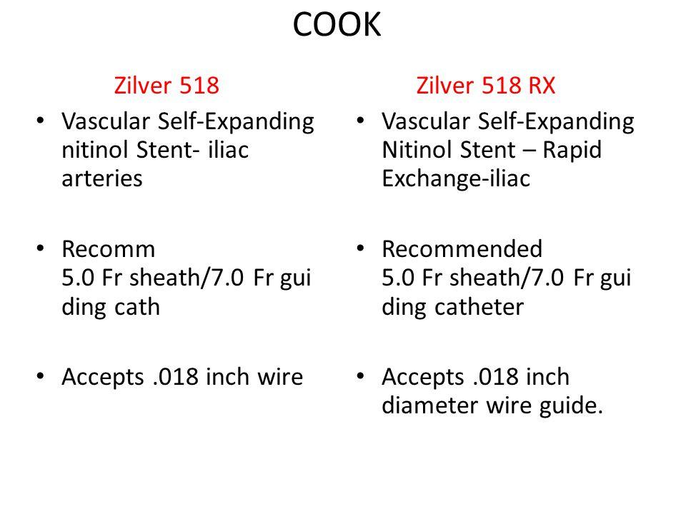 COOK Zilver 518 Vascular Self-Expanding nitinol Stent- iliac arteries