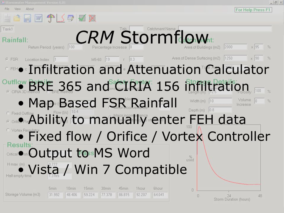 CRM Stormflow Infiltration and Attenuation Calculator