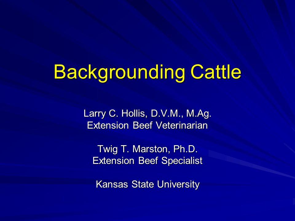 Backgrounding Cattle Larry C. Hollis, D.V.M., M.Ag.