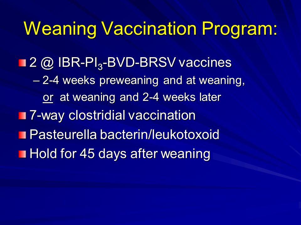Weaning Vaccination Program:
