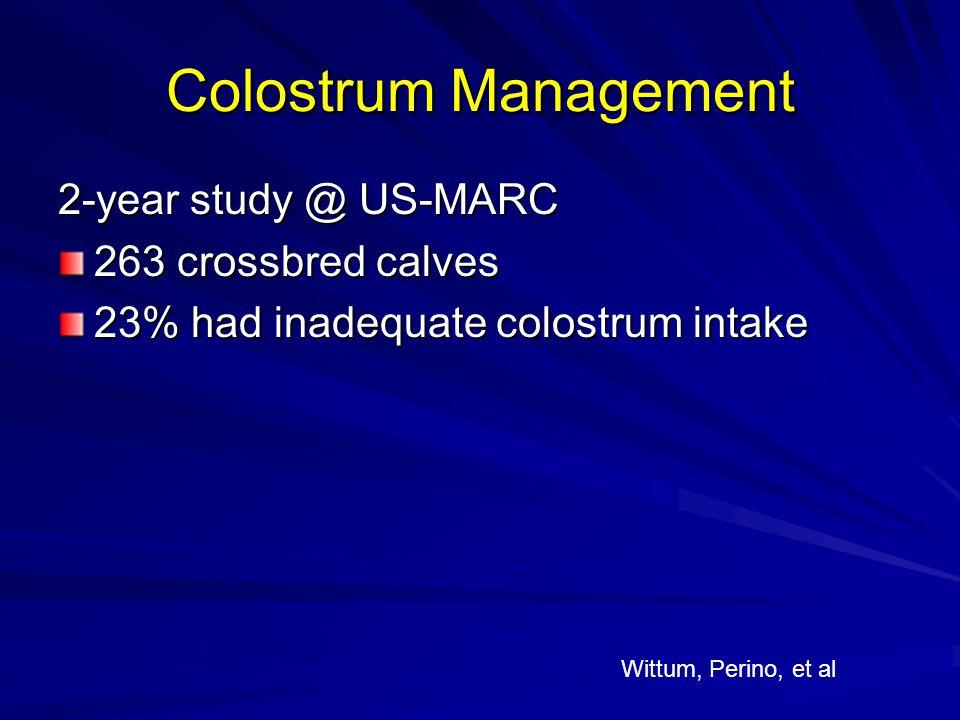 Colostrum Management 2-year study @ US-MARC 263 crossbred calves