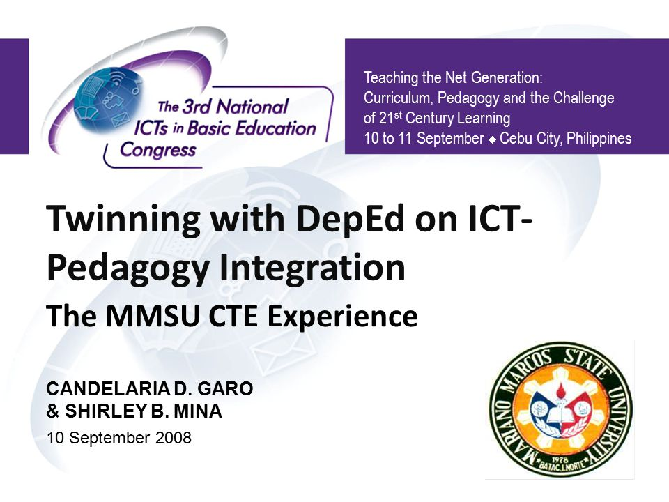 Twinning with DepEd on ICT-Pedagogy Integration