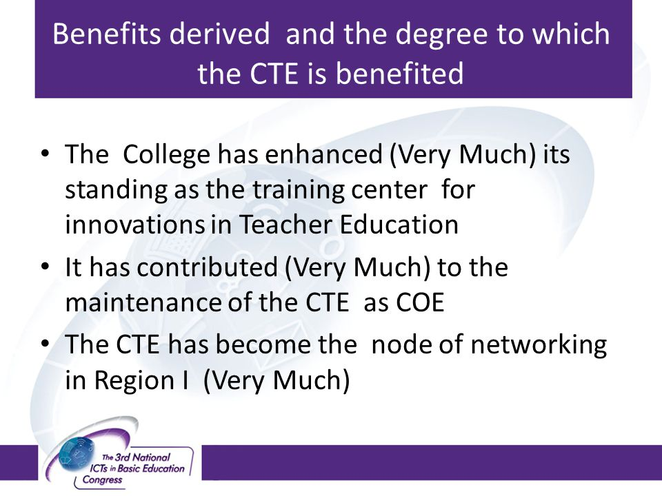 Benefits derived and the degree to which the CTE is benefited