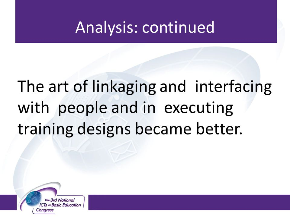 Analysis: continued The art of linkaging and interfacing with people and in executing training designs became better.