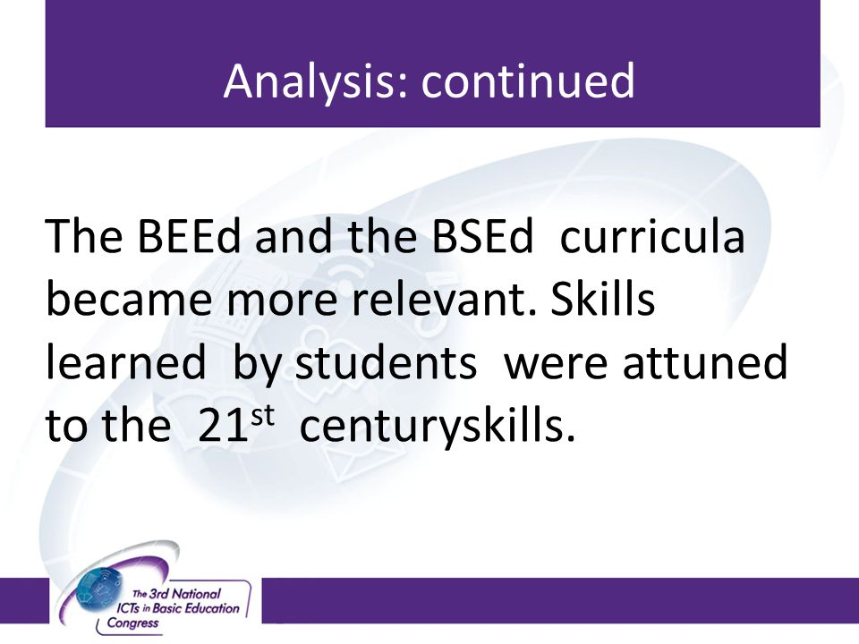 Analysis: continued The BEEd and the BSEd curricula became more relevant.